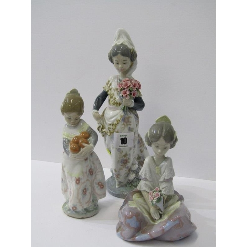 10 - LLADRO, 3 figures of 2 flower girls and girl with basket of oranges...
