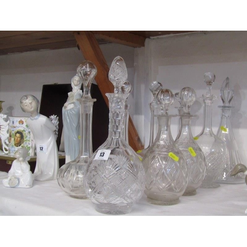 13 - DECANTERS, collection of 9 mainly antique cut glass decanters...
