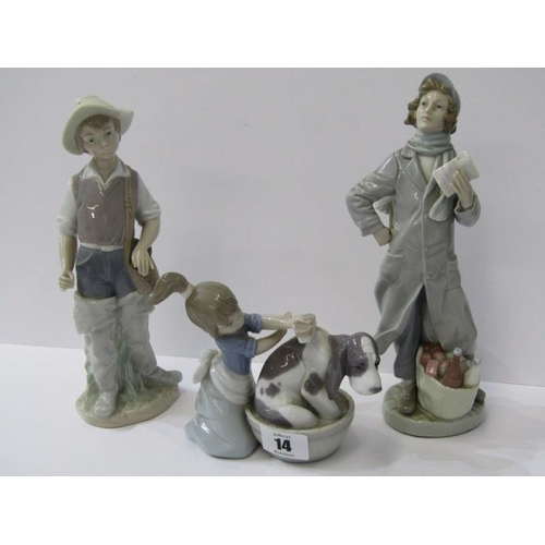 14 - LLADRO, figure of Girl washing Puppy and Boy Angler, together with 1 similar figure...
