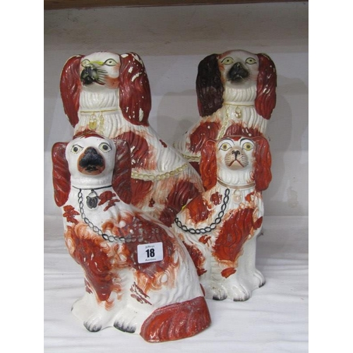 18 - VICTORIAN STAFFORDSHIRE, 4 x 19th Century seated Spaniels a/f...