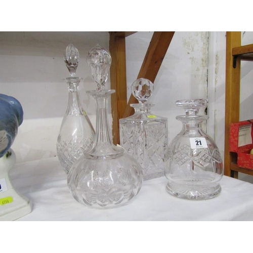 21 - DECANTERS, cut glass whisky decanter and 3 others...