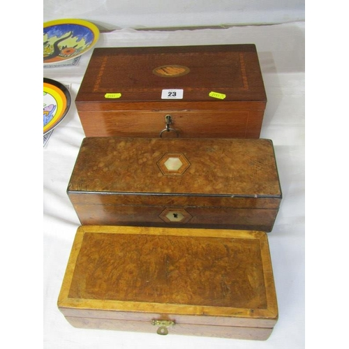 23 - INLAID BOXES, Victorian marquetry document box and 2 others...