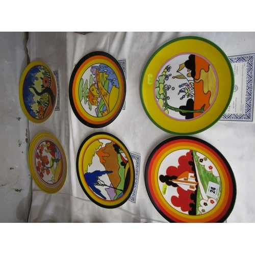 24 - CLARICE CLIFF, set of 6 Wedgwood limited edition wall plates...