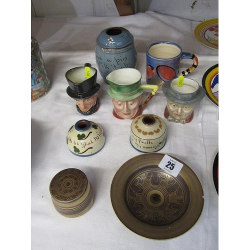 25 - MARY RICH, lidded pot and stem bowl a/f, also 3 character toby jugs, mottoware, etc...