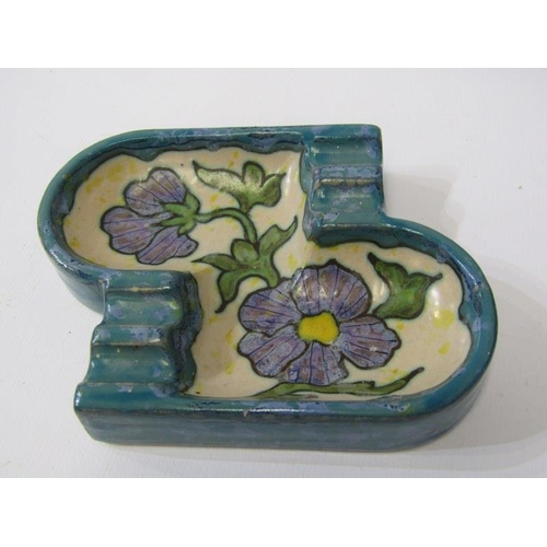 28 - POOLE, 2 flower holders, also Gouda ashtray and Art Deco cake comport...