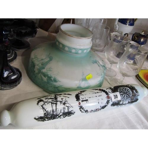 30 - GLASSWARE, antique milk glass rolling pin novelty, slag glass candle sticks and bowl, porcelain harp...