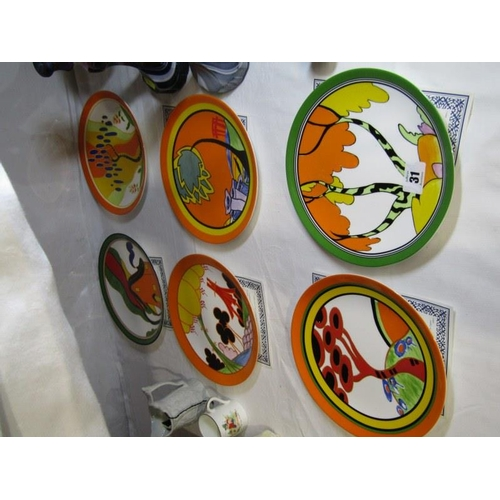 31 - CLARICE CLIFF, set of 6 limited edition Wedgwood wall plates...