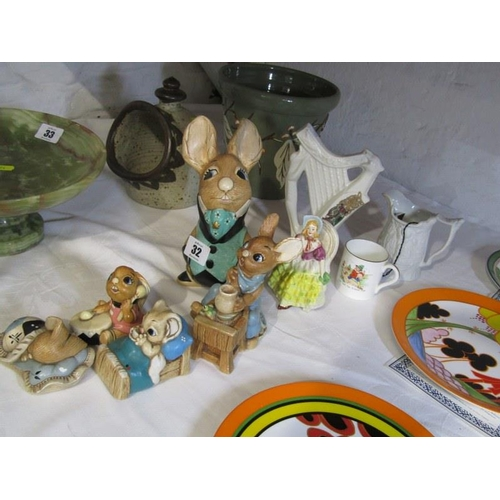32 - PENDELFIN, collection of 5 Rabbit groups, also nursery cup, stoneware miniature jug, etc...