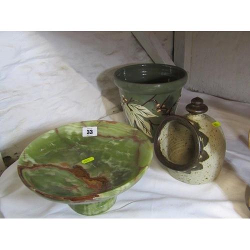 33 - ONYX COMPORT, pottery salt and brannam jardiniere...