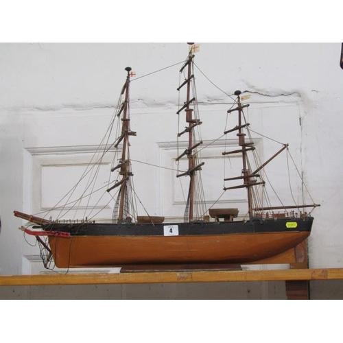 4 - MARITIME, scratch built scale model of triple masted schooner...