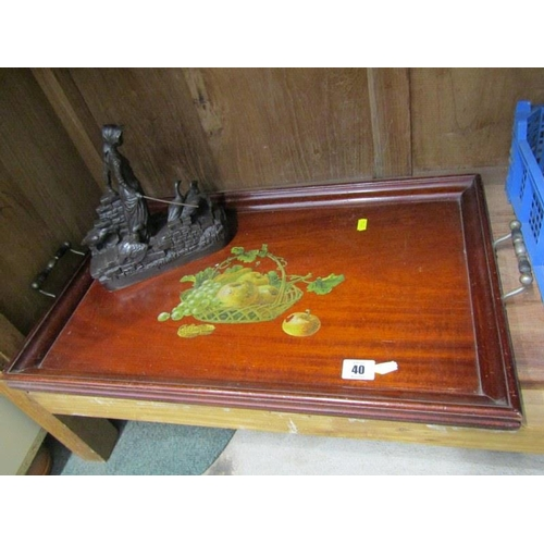 40 - EDWARDIAN TRAY, mahogany decorated tray and resin figure