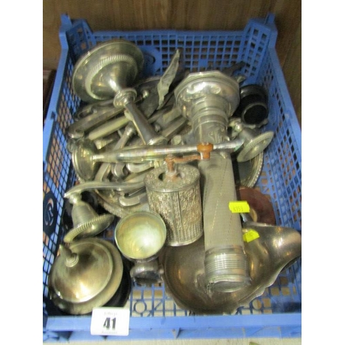 41 - SILVERPLATE, ornate peppermill, cutlery and contents of tray...