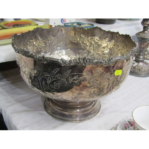 44 - SILVERPLATE, plated copper foliate embossed punch bowl...