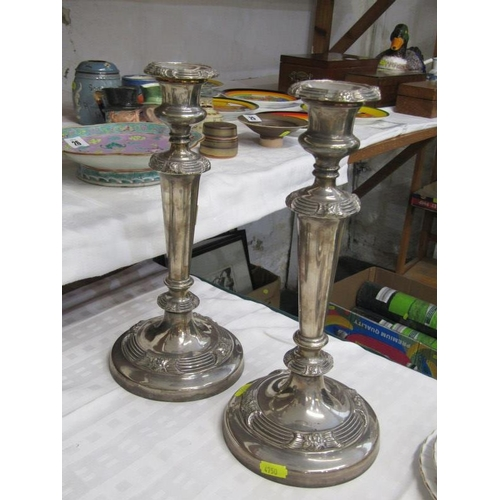45 - SILVERPLATE, pair of antique Sheffield plate circular based candle sticks and candelabra...