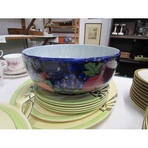 47 - ART DECO MYOTT, silver lustre tableware including tureen, together with adderleys fruit bowl...