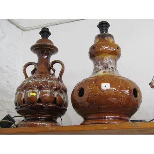 7 - 2 Brown glazed West German lamp bases...