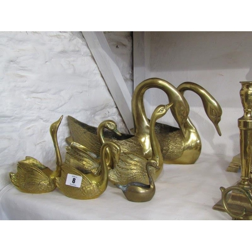 8 - BRASSWARE, a collection of 7 brass swan flower holders...