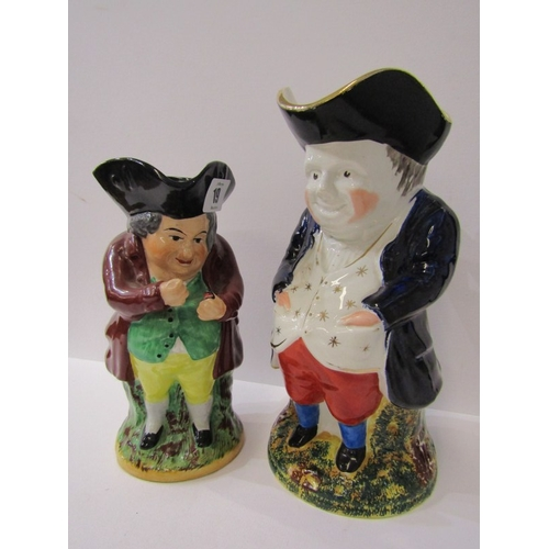 19 - TOBY JUGS, Snuff taking Toby jug together with similar Toby jug in gilt embroidered waist coat, appr...
