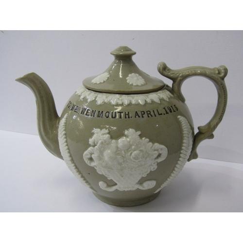 2 - ANTIQUE POTTERY WWI, presentware stoneware teapot dedicated to