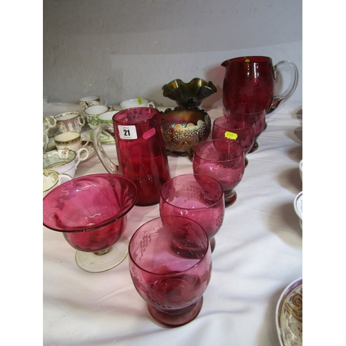21 - CRANBERRY GLASS, pedestal cream dish, five vine edged tumblers, goblet & three other pieces includin...