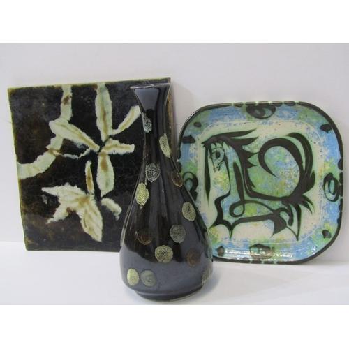 28 - STUDIO POTTERY, Celtic Pottery square horse design dish 8