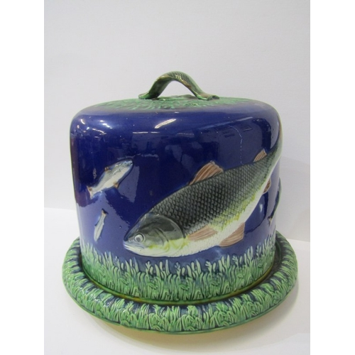 33 - VICTORIAN MAJOLICA CHEESE DISH, fish decorated cheese dome & base (some damage to base)...