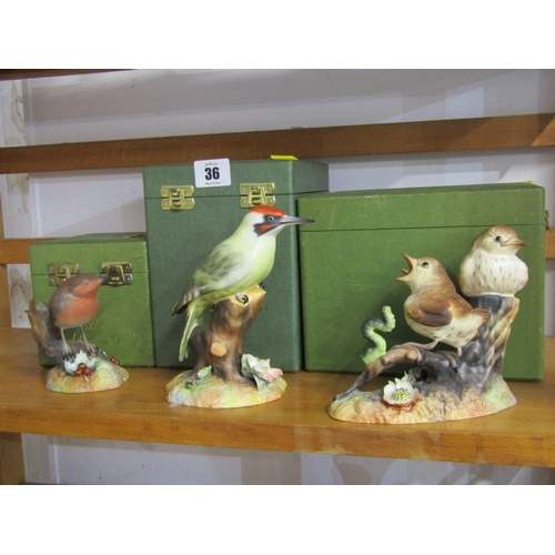36 - ROYAL CROWN DERBY BIRDS, three boxed groups,