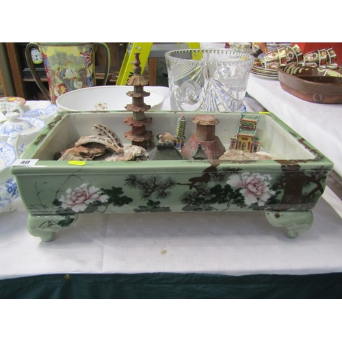 40 - ORIENTAL CERAMICS, Chinese celadon ground rectangular display trough together with collection of min...