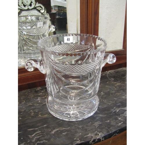 41 - CUT GLASS, quality cut glass twin handled ice bucket, signed base, 10