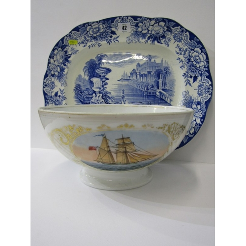 42 - MARITIME,  porcelain punch bowl with sailing ship portrait, 11