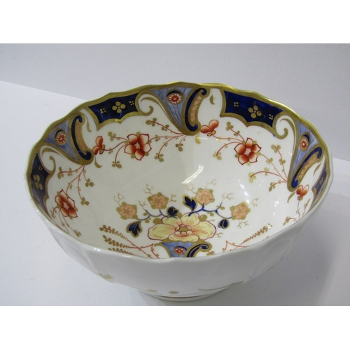 46 - ENGLISH PORCELAIN, 18th Century Worcester spiral fluted waste bowl, a similar floral decorated bowl ...