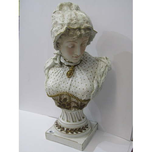 49 - VICTORIAN BUST, Continental bisque pedestal bust of Young Lady, 23