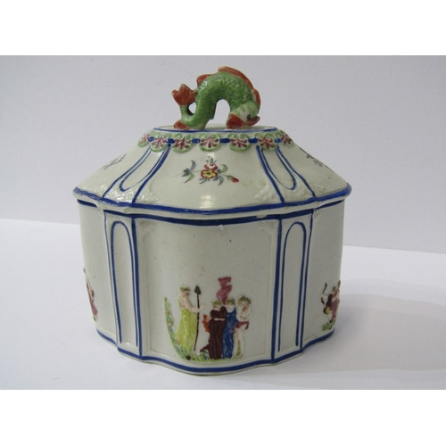 51 - GEORGIAN PORCELAIN TEA CADDY, serpentine body with applied classical figures & fish finial (restored...