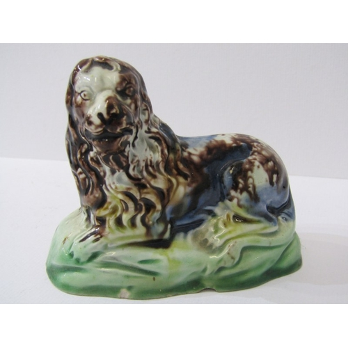 52 - WHIELDON-TYPE LIONS, pair of slip glazed pottery resting lions, 3.5