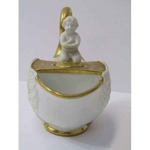 53 - SEVRES INKWELL, 19th Century gilded Sevres inkwell, lid with cherub riding swan (some damage)...