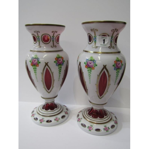 1 - VICTORIAN GLASSWARE, pair of 19th Century cranberry and milk overlay glass baluster  vases, decorate...