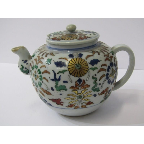 107 - ORIENTAL CERAMICS, 18th Century Chinese spherical teapot, floral design, (lid damaged) 5