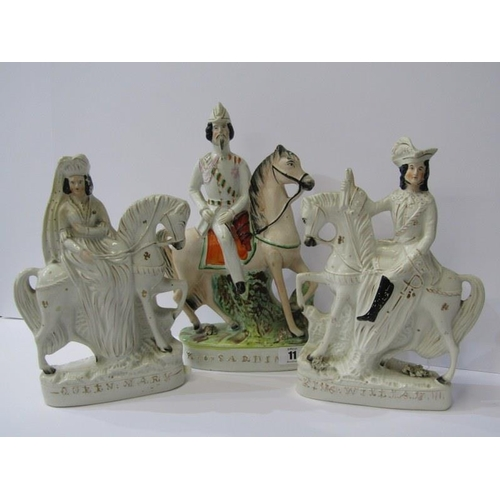 11 - STAFFORDSHIRE POTTERY, pair of Equestrian groups