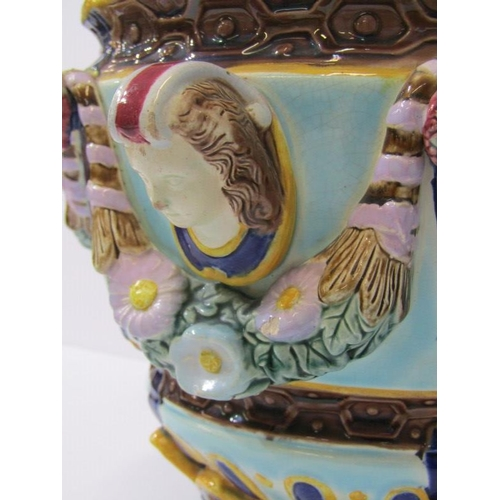 110 - VICTORIAN MAJOLICA, jardinere decorated with maiden head panels and floral swag decoration impressed...