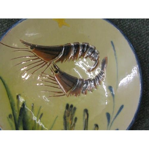 111 - CONTINENTAL SLIPWARE, set of 5 pottery Fish design circular plates, 8.5