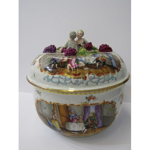 114 - DRESDEN, 19th Century Dresden lidded circular pot and cover, decorated with social interiors and app...