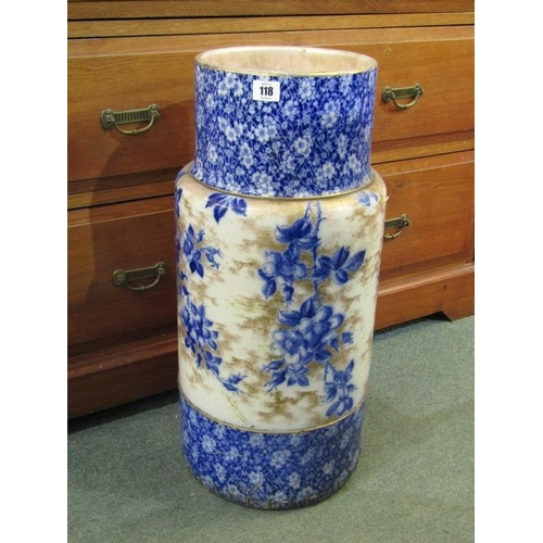118 - DOULTON STICKSTAND, flow blue blossom design, 24.5