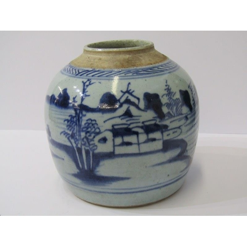 121 - ORIENTAL CERAMICS, Chinese early stoneware ginger jar base decorated with Riverscape, 6