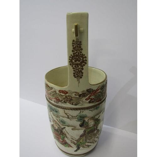 138 - ORIENTAL CERAMICS, Satsuma Meiji period, well bucket design vase, decorated with samurai warriors, 1...