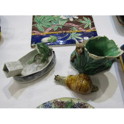 140 - MAJOLICA, 3 Victorian Majolica sardine dishes, French Palissey dish and 4 other pieces mainly damage...