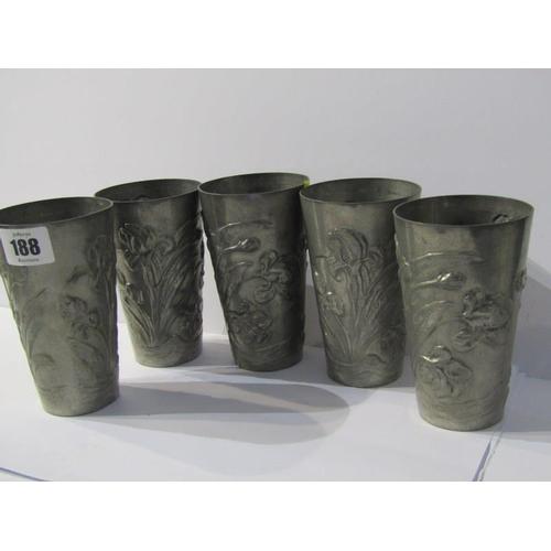 188 - ART NOUVEAU, set of 5 German Art Nouveau Beakers, embossed floral decoration, 5