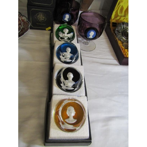 25 - BACCARAT, set of 4 commemorative Royalty paperweights, together with pair of Wedgwood Silver Jubilee...