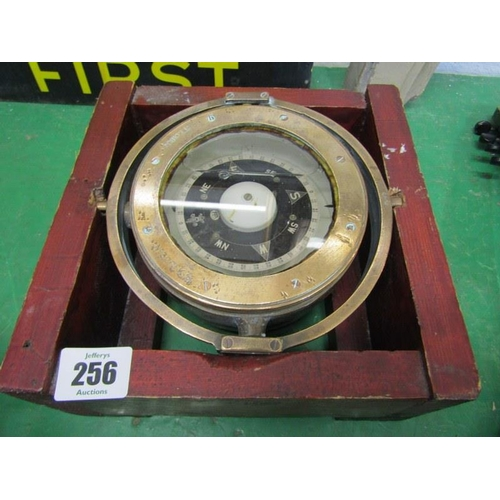 256 - MARITIME, cased Gimbal compass patent no 0188A, 5