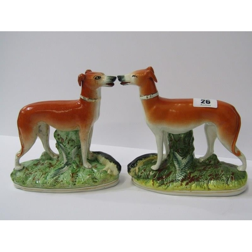 26 - STAFFORDSHIRE POTTERY, pair of 19th Century Hunting Whippets with Game, 7