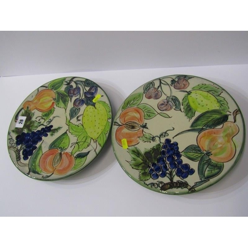 28 - STUDIO POTTERY, Paul Jackson, 2 grape and fruit decorated cake stands dated 2002, 10.5